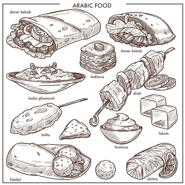 アラブ料理の伝統的な料理料理ベクトルスケッチメニュー Premiumベクター