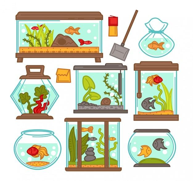 水族館の水槽のベクトル要素 Premiumベクター