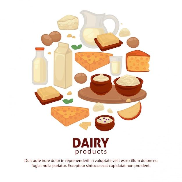 牛乳や乳製品農場の食品ベクトルポスター Premiumベクター