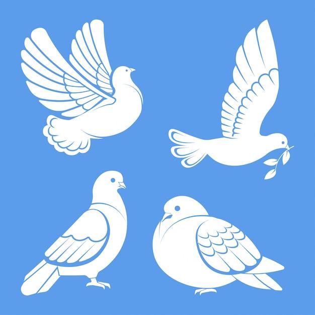鳩や鳩、白い鳥が空に広がる翼または座っているセットで飛んでいます。 Premiumベクター