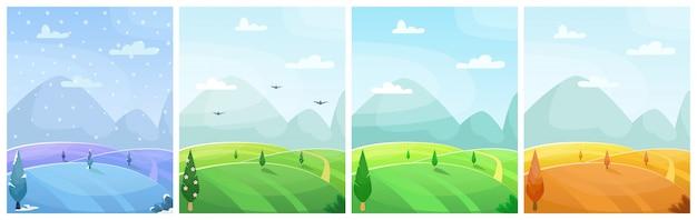 Набор сезонных плоских мультяшный пейзаж. поля с деревьями и горами Premium векторы