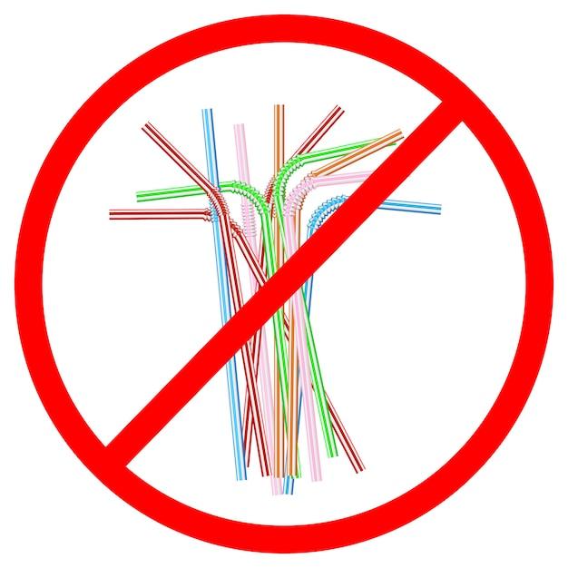Признак отказа от одноразовых пластиковых трубочек Premium векторы