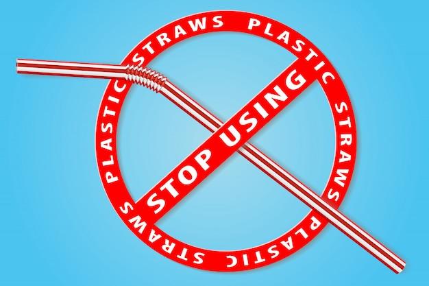 プラスチックストローサインの使用をやめる Premiumベクター