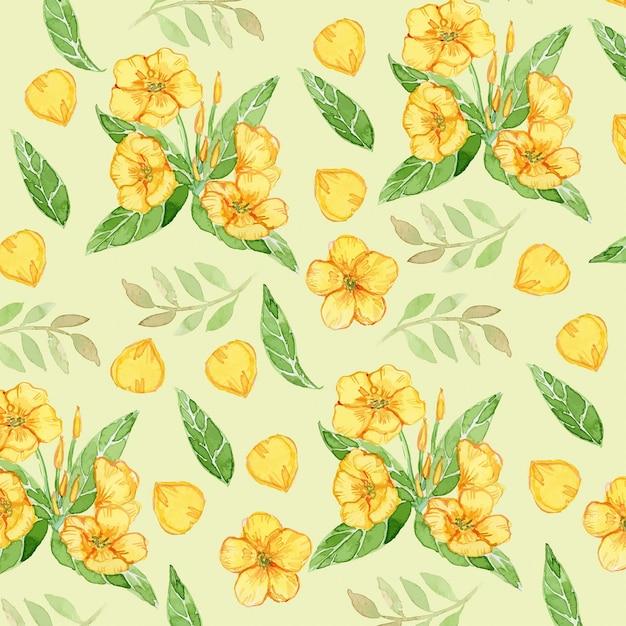 ラナンキュラス黄色い花水彩シームレスパターン Premiumベクター