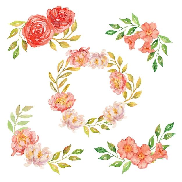 Акварель коралл цветочная композиция и венок Premium векторы