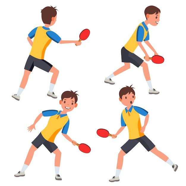 Набор символов для мужского игрока в настольный теннис Premium векторы
