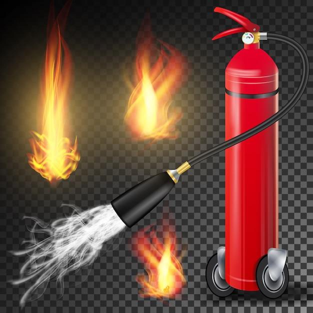 赤い消火器ベクトル。炎のサインと金属の赤い消火器。透明な背景 Premiumベクター