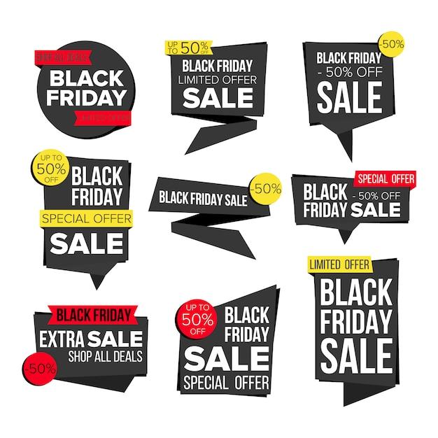 Черная пятница продажа баннеров Premium векторы