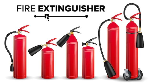 赤い消火器ベクトル。金属赤消火器分離イラスト Premiumベクター