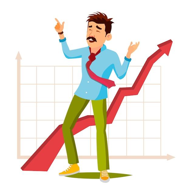 グラフィックと幸せなビジネスマン Premiumベクター