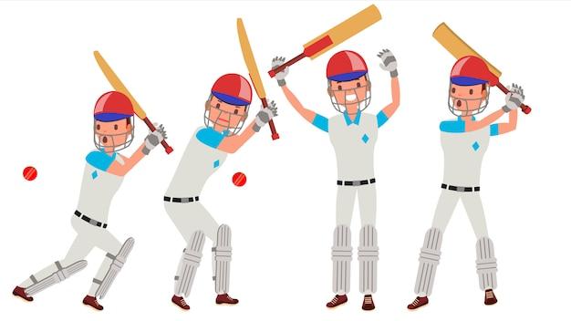 Игрок в крикет Premium векторы