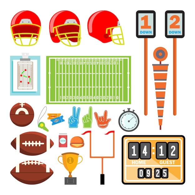 アメリカンフットボールのアイコンは、ベクトルを設定します。アメリカンフットボールのアクセサリー。ヘルメット、ボール、カップ、フィールド Premiumベクター