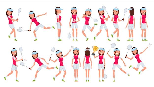 Бадминтон девушка игрок женский вектор. воспроизведение. спортсмен в форме. мультяшный спортсмен Premium векторы