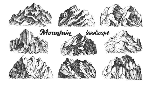 Коллекция горный пейзаж Premium векторы