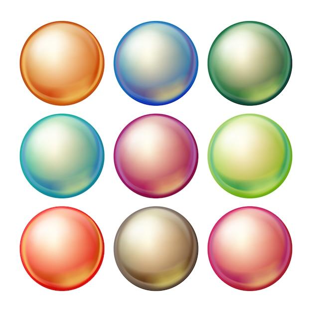 丸いガラス球。 Premiumベクター