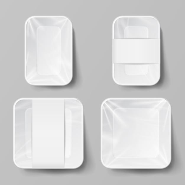 Пустой белый пластиковый пищевой контейнер Premium векторы