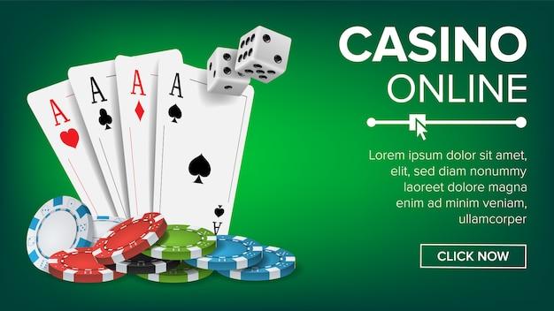 カジノポーカーデザインバナーテンプレート Premiumベクター