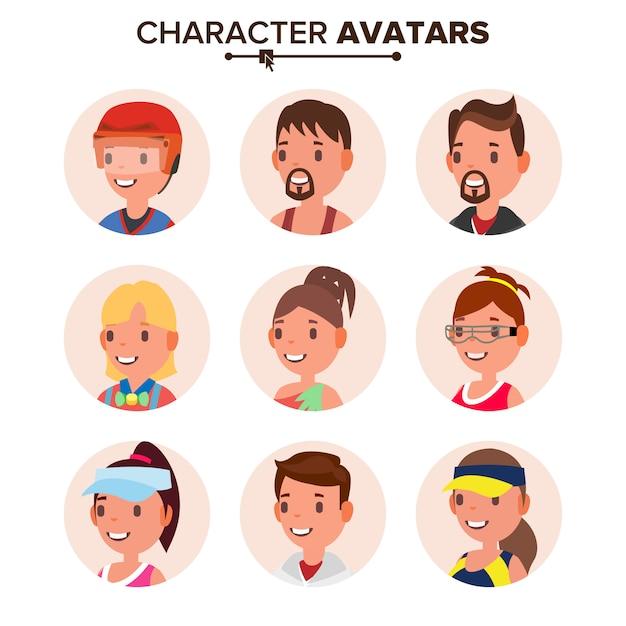 キャラクター人アバターセット。 Premiumベクター