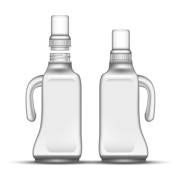 ハンドル付きブランクブリーチプラスチックボトル Premiumベクター