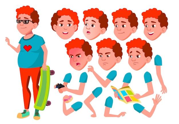 Подросток мальчик персонаж. европейский. создание конструктора для анимации. лицо, эмоции, руки. Premium векторы