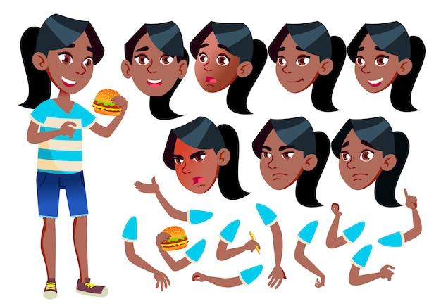 十代の少女のキャラクター。アフリカ人。アニメーションの作成コンストラクター。顔の感情、手。 Premiumベクター