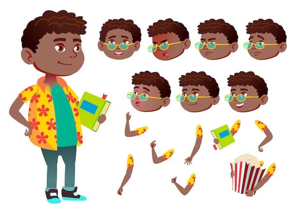 子供の少年キャラクター。アフリカ人。アニメーションの作成コンストラクター。顔の感情、手。 Premiumベクター