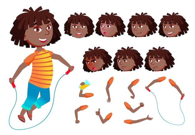 子供の女の子のキャラクター。アフリカ人。アニメーションの作成コンストラクター。顔の感情、手。 Premiumベクター