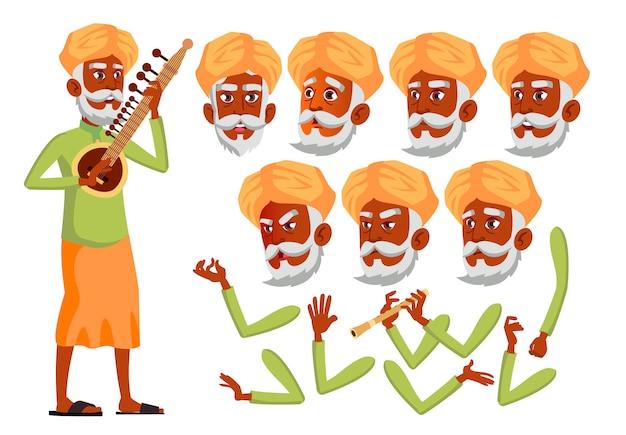 老人のキャラクター。インド人。アニメーションの作成コンストラクター。顔の感情、手。 Premiumベクター