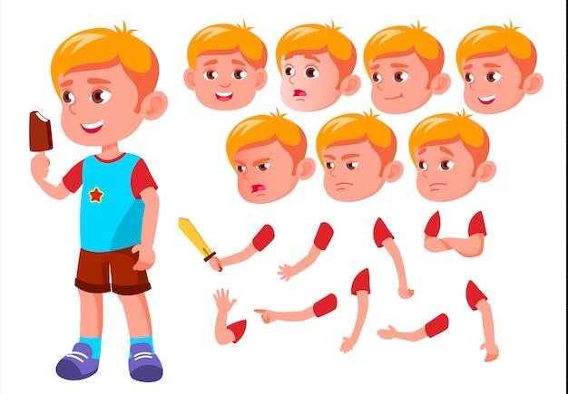 子供の少年キャラクター。ヨーロッパ人。アニメーションの作成コンストラクター。顔の感情、手。 Premiumベクター