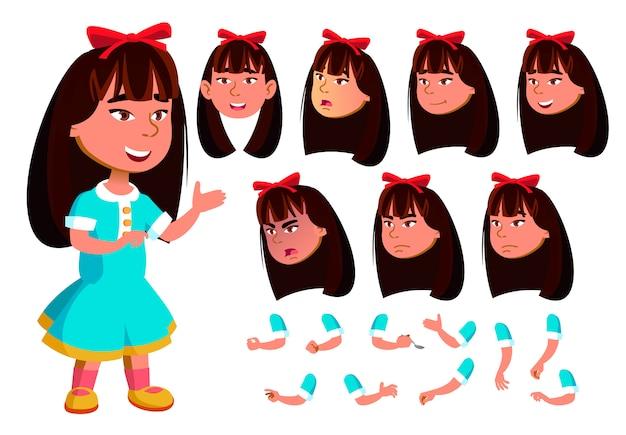 子供の女の子のキャラクター。アジア人。アニメーションの作成コンストラクター。顔の感情、手。 Premiumベクター