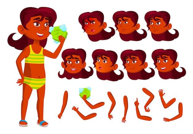 子供の女の子のキャラクター。インド人。アニメーションの作成コンストラクター。顔の感情、手。 Premiumベクター