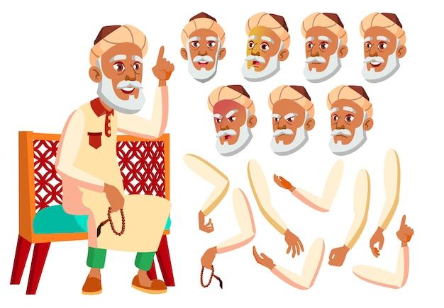 Старик персонаж. араб. создание конструктора для анимации. лицо, эмоции, руки. Premium векторы