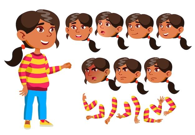 子供の女の子のキャラクター。アラブ。アニメーションの作成コンストラクター。顔の感情、手。 Premiumベクター