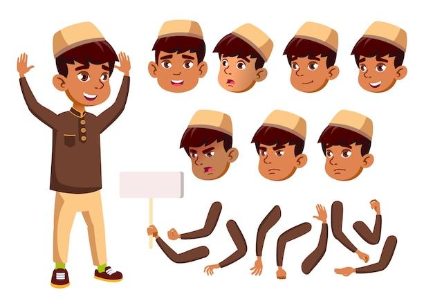Ребенок мальчик персонаж. араб. создание конструктора для анимации. лицо, эмоции, руки. Premium векторы