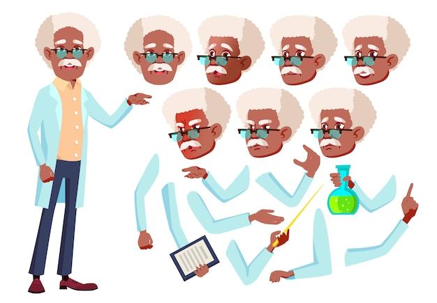 老人のキャラクター。アフリカ人。アニメーションの作成コンストラクター。顔の感情、手。 Premiumベクター