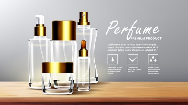 化粧品のガラスの背景テンプレート Premiumベクター