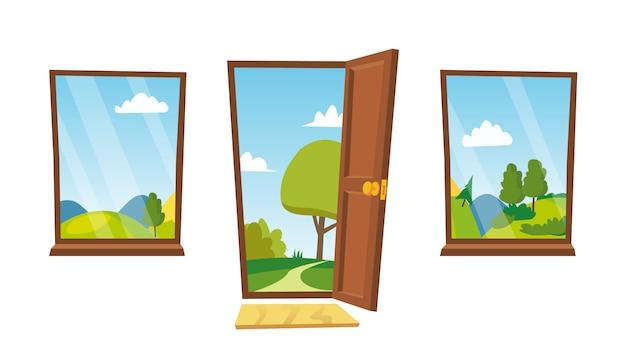 開いたドアと窓 Premiumベクター