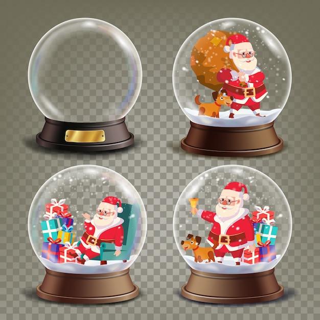 Рождественский снежный шар с дедом морозом и подарками Premium векторы