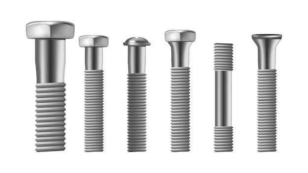 鋼製真鍮ボルトの現実的なタイプ Premiumベクター