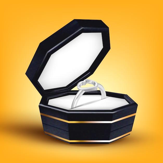 ボックスにハートの形をしたシルバーリング Premiumベクター