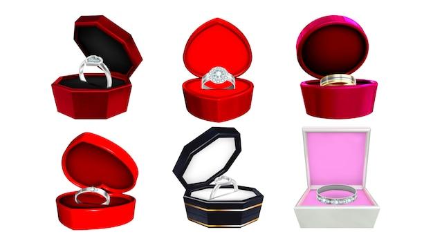 Различные яркие серебряные металлические кольца Premium векторы