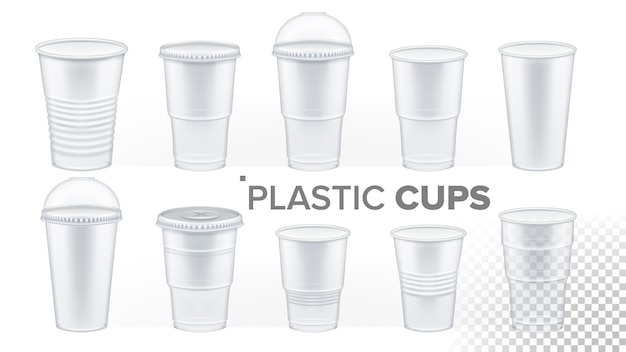 透明なプラスチックカップ Premiumベクター