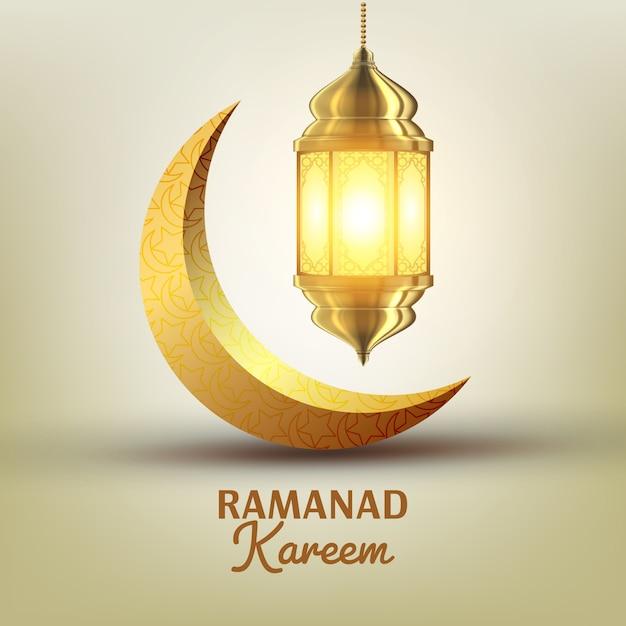 Рамадан карим поздравительная открытка Premium векторы