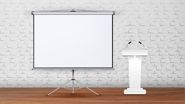 Интерьер современного зала заседаний для лекции Premium векторы
