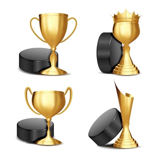 Набор наград для игры в хоккей Premium векторы