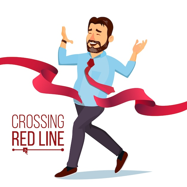 赤いリボンラインを横切る実業家 Premiumベクター