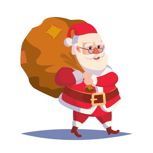 サンタクロースの贈り物で大きな袋を運ぶ Premiumベクター