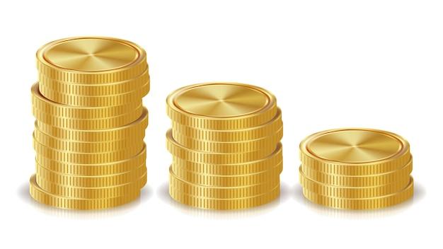 Стеки золотых монет Premium векторы