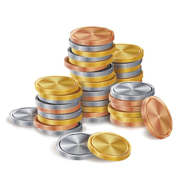 金、銀、青銅、銅のコインスタック。 Premiumベクター