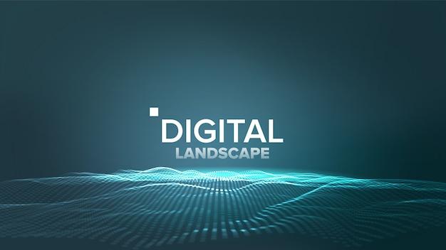 Цифровой синий пейзаж Premium векторы